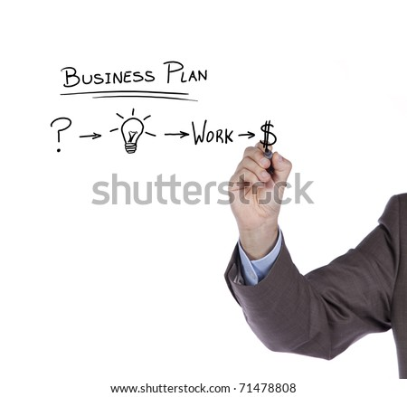 Businessman with a strategy plan to be successful in her business - stock photo