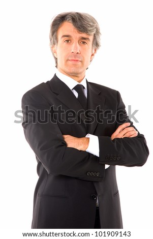 businessman with arms crossed - stock photo