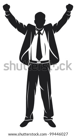 businessman with arms up celebrating (successful businessman, happy businessman, business man silhouette with his arms up enjoying his success) - stock photo