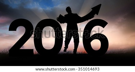 businessman with arrow against blue sky over grass - stock photo