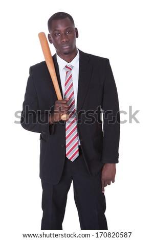 Businessman With Baseball Bat Isolated On White Background - stock photo