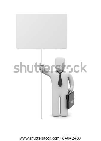 Businessman with billboard. Image contain clipping path - stock photo