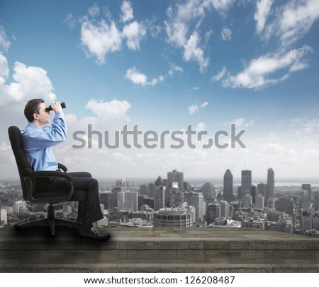 Businessman with binoculars. Over abstract background. Success. - stock photo