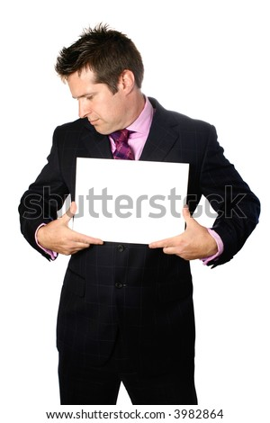 Businessman with blank card, in mugshot pose, isolated on white. - stock photo