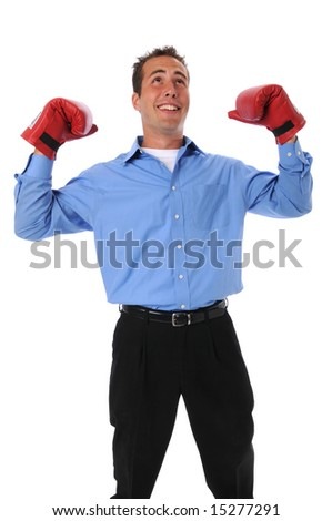 Businessman with boxing gloves celebrating - stock photo