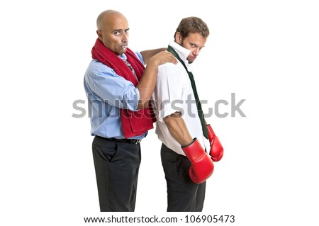 Businessman with boxing gloves ready for next round - stock photo