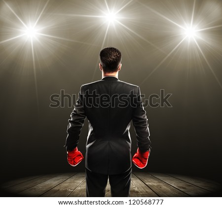businessman with boxing gloves, rear view - stock photo