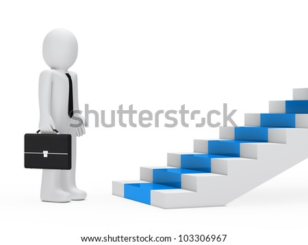 businessman with briefcase stand befor blue steps - stock photo