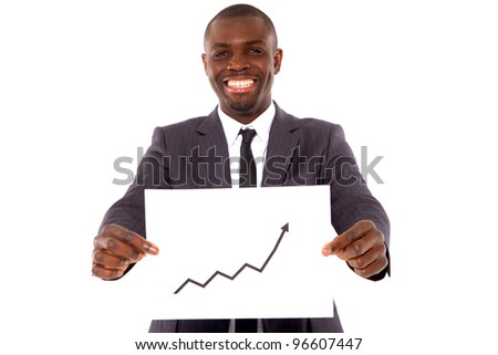 businessman with chart - stock photo