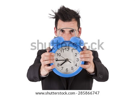 businessman with clock - stock photo