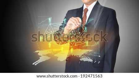 businessman with connection of business - stock photo