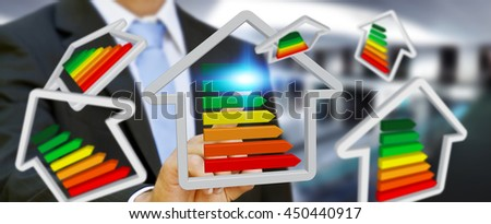 Businessman with 3D eco house and energy efficiency in his hand '3D rendering' - stock photo