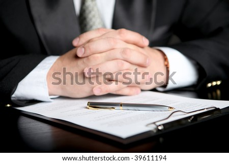 businessman with document - stock photo