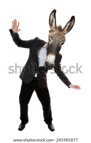 Businessman with donkey head   - stock photo