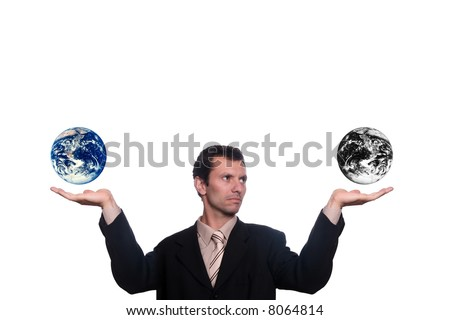 businessman with earth result of polution and war - stock photo