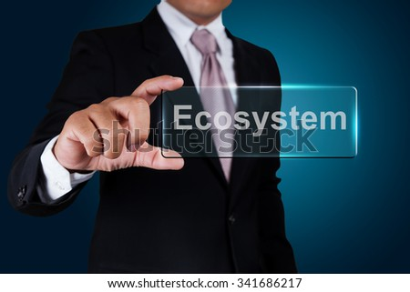 Businessman with ecosystem text label. - stock photo