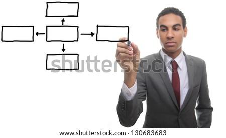 Businessman with empty Diagram - stock photo