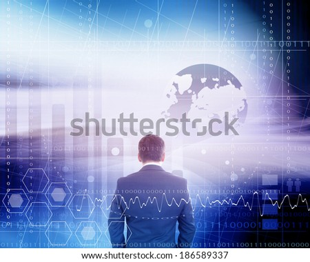 Businessman With Futuristic Background - stock photo