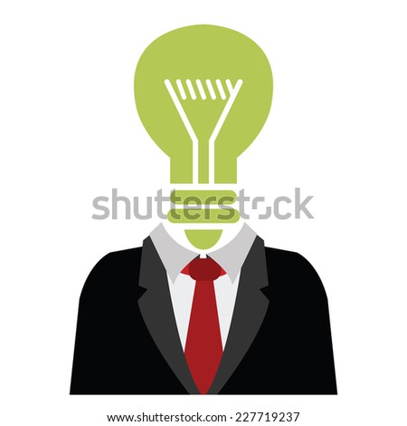 Businessman With Green Light Bulb Head Isolated on White Background  - stock photo
