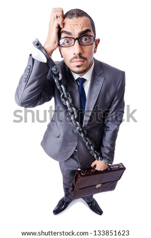 Businessman with handcuffs on white - stock photo