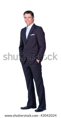 Businessman with hands in the pocket isolated on a white background - stock photo
