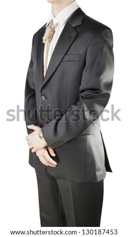 Businessman with hangman's noose instead of tie symbolizing economic breakdown. - stock photo