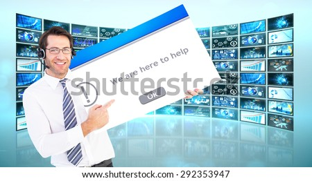 Businessman with headphone showing card to camera against error message - stock photo