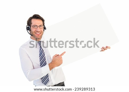 Businessman with headphone showing card to camera on white background - stock photo