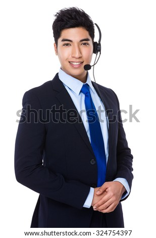 Businessman with headset - stock photo