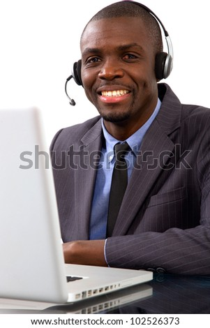 businessman with headset microphone - stock photo