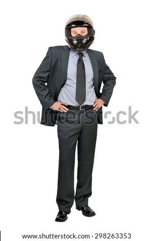 Businessman with helmet isolated in white background - stock photo