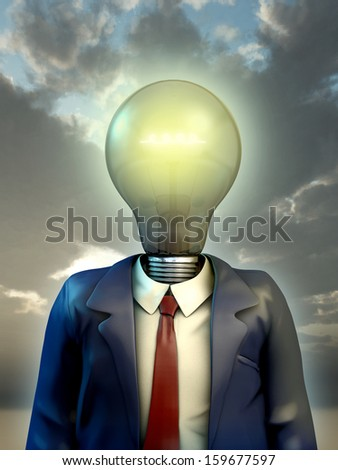 Businessman with his head replaced by a big light bulb. Digital illustration. - stock photo