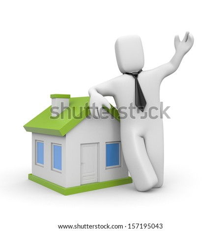 Businessman with home. Loan metaphor - stock photo