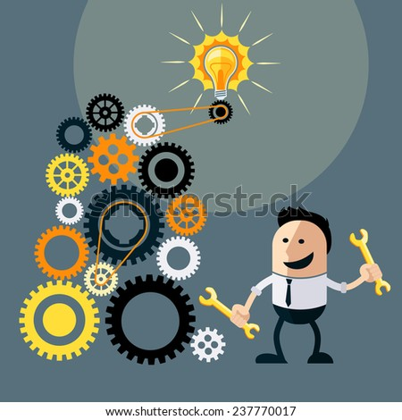 Businessman with ideas. Happy funny cartoon character. Businessman with lightbulb over his head and turns gears to run ideas flat design style. Raster version - stock photo