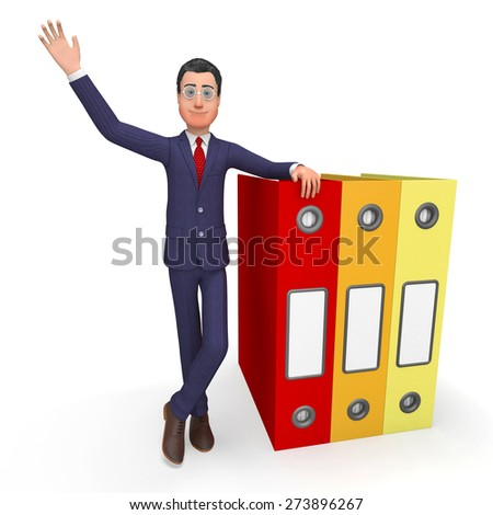 Businessman With Information Representing Professional Answer And Document - stock photo