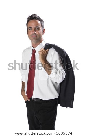 Businessman with jacket over shoulder - stock photo