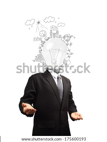 Businessman with lamp head, Ecology concept creative drawing on global environment with happy family stories concept idea - stock photo
