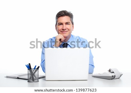 Businessman with laptop computer isolated on white background. - stock photo
