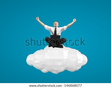 businessman with laptop sitting on cloud - stock photo