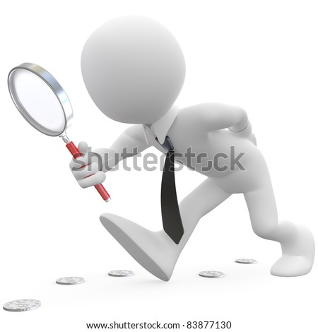 Businessman with magnifying glass looking for coins - stock photo