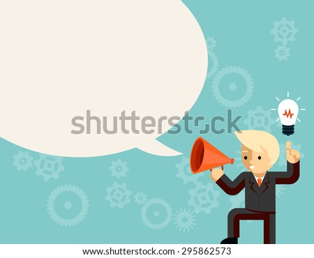 Businessman with megaphone speaking idea speech bubble. Light bulb and information, leader with bullhorn or loudspeaker - stock photo