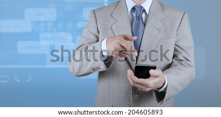 businessman with mobile phone on webinar screen background as concept - stock photo