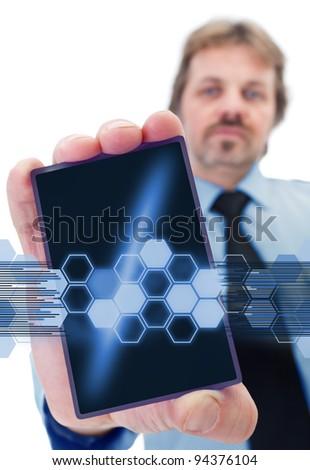 Businessman with modern gadget - giving shape to a data stream - stock photo