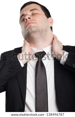 Businessman with neck pain - stock photo