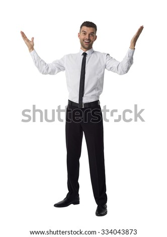 Businessman with outstretched hands Full Length Portrait isolated on White Background - stock photo