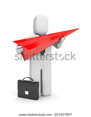 Businessman with paper plane. Creative business metaphor - stock photo