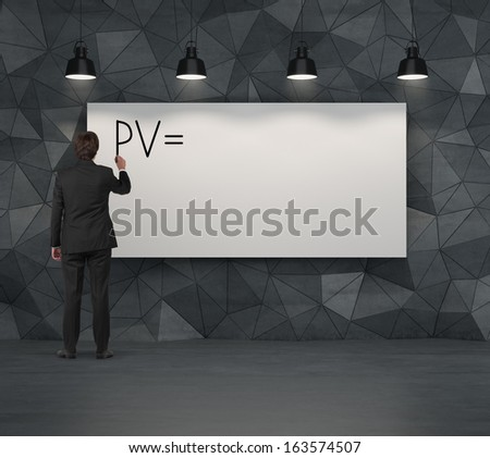 Businessman with PV on whiteboard. - stock photo