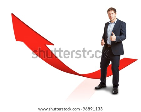 Businessman with rising red graph - success or achievement concept - stock photo