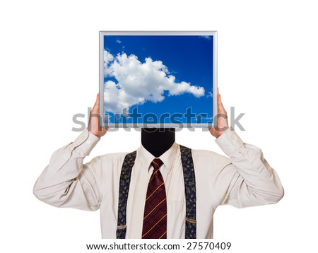 Businessman with sky computer screen isolated on white background - stock photo