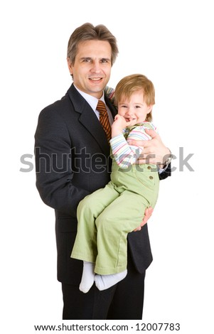 businessman with small daughter - stock photo